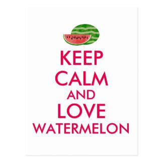Keep Calm and Love Watermelon Customizable Gift Postcard