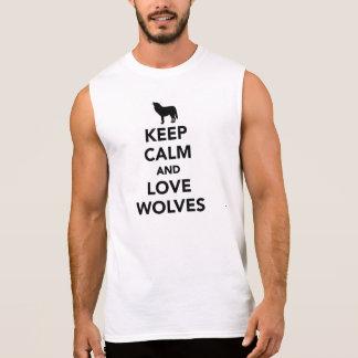 Keep calm and love wolves sleeveless tees