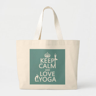 Keep Calm and Love Yoga (customizable colors) Jumbo Tote Bag