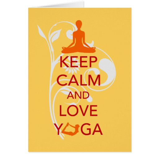 Keep Calm and Love Yoga - unique fun design Greeting Cards