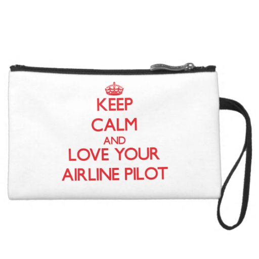 Keep Calm and Love your Airline Pilot Wristlet Clutch