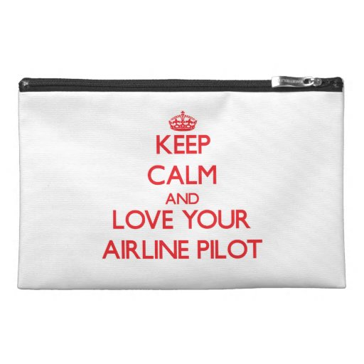Keep Calm and Love your Airline Pilot Travel Accessory Bags