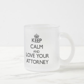 Keep Calm and Love your Attorney Frosted Glass Mug