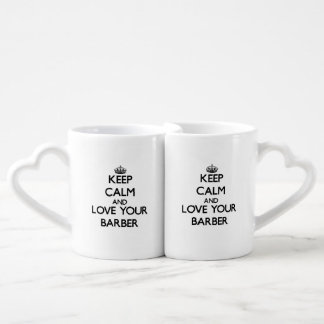 Keep Calm and Love your Barber Couple Mugs