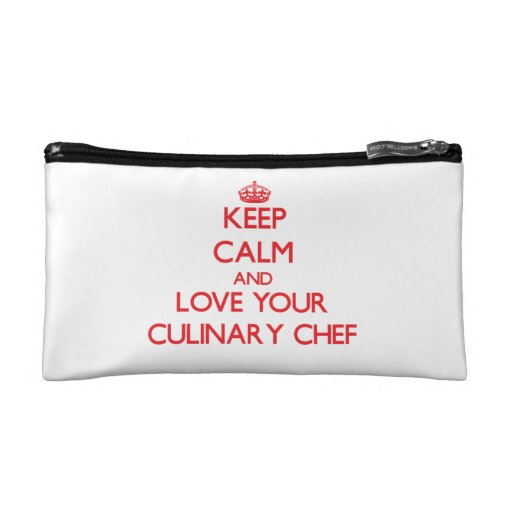 Keep Calm and Love your Culinary Chef Cosmetic Bags