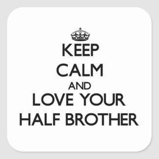 Keep Calm and Love your Half-Brother Square Stickers