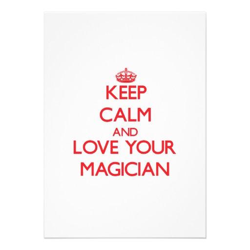 Keep Calm and Love your Magician Custom Invitation