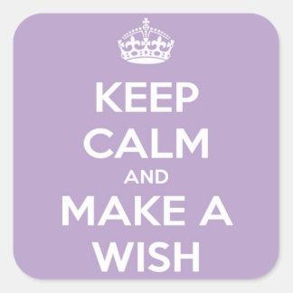 Keep Calm and Make A Wish Lavender Square Sticker