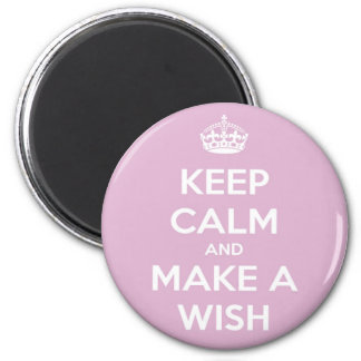 Keep Calm and Make a Wish Pink 6 Cm Round Magnet