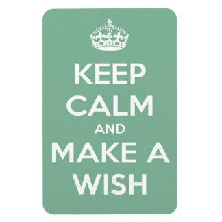 Keep Calm and Make A Wish Soft Teal Rectangular Magnets