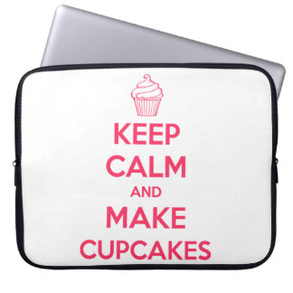 Keep calm and make cupcakes laptop computer sleeves