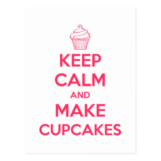 Keep calm and make cupcakes postcard