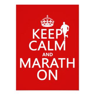 Keep Calm and Marath On 14 Cm X 19 Cm Invitation Card