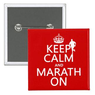 Keep Calm and Marath On 15 Cm Square Badge