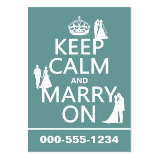 Keep Calm and Marry On (any color background) Large Business Cards (Pack Of 100)