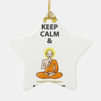 Keep Calm and Meditate Vector Art Gold Crown Ceramic Ornament