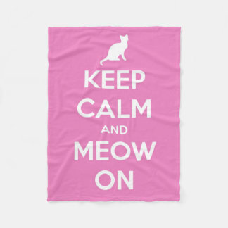 Keep Calm and Meow On Pink and White Fleece Blanket
