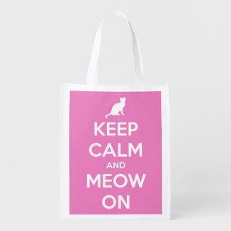 Keep Calm and Meow On Pink and White Personalized Reusable Grocery Bag