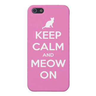 Keep Calm and Meow On Pink Case For The iPhone 5