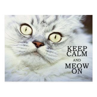 Keep Calm and Meow On Postcard