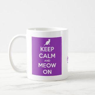 Keep Calm and Meow On Purple Coffee Mug