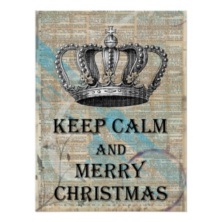 Keep Calm and Merry Christmas Vintage Crown Art Poster