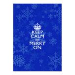 Keep Calm And Merry On Blue 13 Cm X 18 Cm Invitation Card