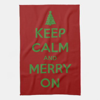 Keep Calm and Merry On Red and Green Tea Towel