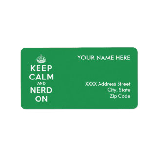 Keep Calm and Nerd On Address Label