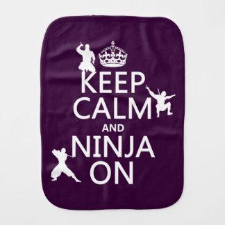 Keep Calm and Ninja On (in any color) Burp Cloth