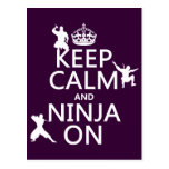 Keep Calm and Ninja On (in any colour) Postcard