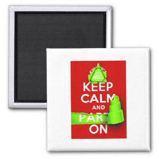 Keep Calm and Party On at Xmas Square Magnet