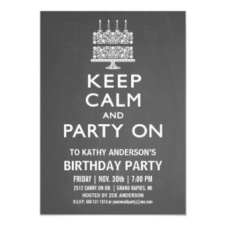 Keep Calm and Party On Birthday Invitation