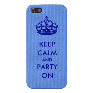 Keep Calm and Party on Blue Kraft Paper Case For The iPhone 5