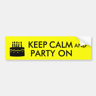 Keep Calm and Party On Cake Customizable Bumper Sticker