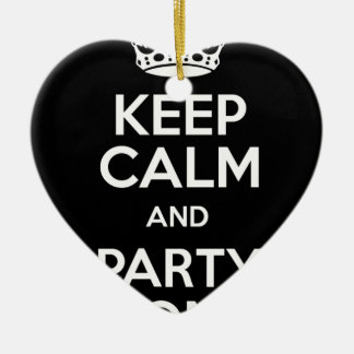 Keep Calm and Party On Ceramic Heart Decoration