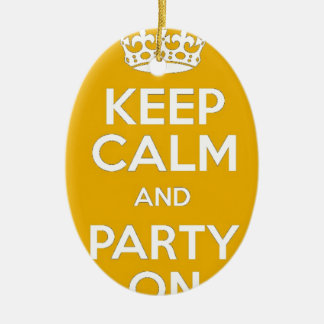 Keep Calm and Party On Ceramic Oval Decoration