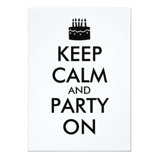 "Keep Calm and Party On Invitations Cake Template 5"" X 7"" Invitation Card"