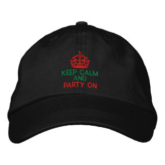 Keep Calm and Party On Red Embroidered Cap