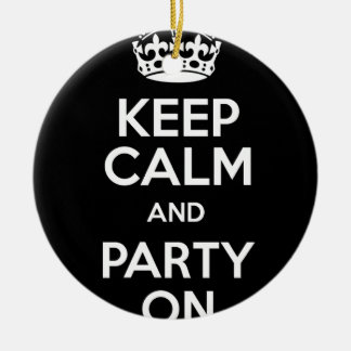 Keep Calm and Party On Round Ceramic Decoration