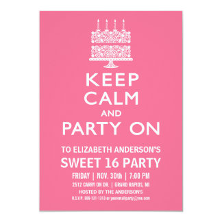 Keep Calm and Party On Sweet Sixteen Birthday Card