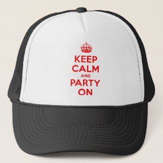 KEEP CALM AND PARTY ON.TIF TRUCKER HAT
