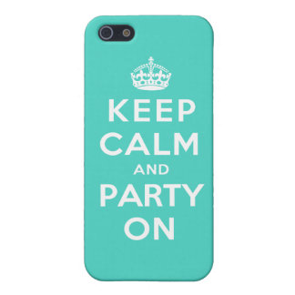 Keep Calm and Party On - Turquoise Green iPhone 5/5S Cases