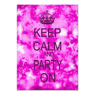 Keep Calm and Party pink starry party invitation