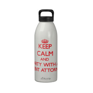 Keep Calm and Party With a Patent Attorney Water Bottle