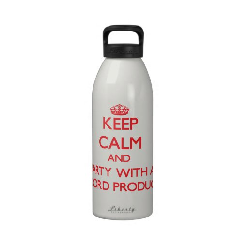 Keep Calm and Party With a Record Producer Drinking Bottle