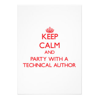 Keep Calm and Party With a Technical Author Custom Invites