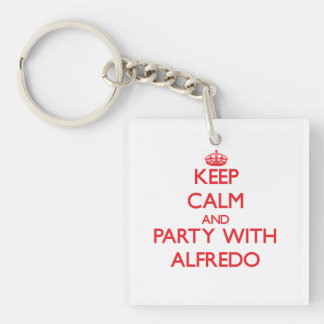 Keep calm and Party with Alfredo Single-Sided Square Acrylic Keychain