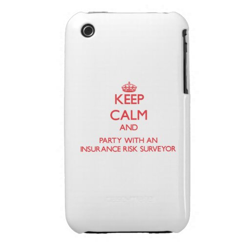 Keep Calm and Party With an Insurance Risk Surveyo iPhone 3 Cover