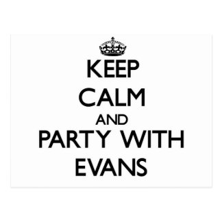 Keep calm and Party with Evans Postcards